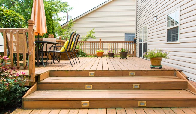 wooden deck stairs